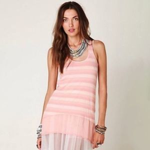 We The Free Cheerful Ribbed Stripe Pink Tank Tunic